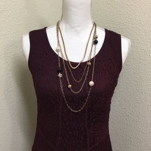 Alfani Crochet Burgundy Fit and Flare Dress